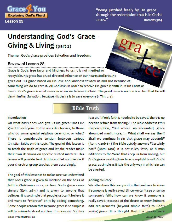 Lesson 23 understanding god s grace giving living for Generous living