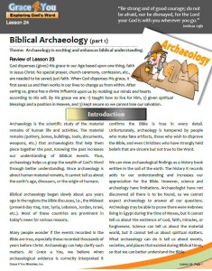 Lesson 24: Biblical Archaeology (Part 1)